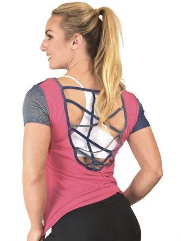 CAJUBRASIL T-Shirt 9025 Love-Sexy Workout Top-Yoga Top Coral