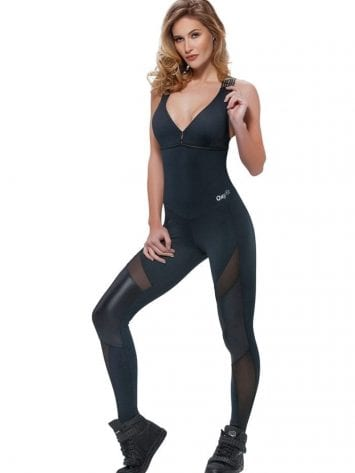 OXYFIT Jumpsuit Riviera 15196 Black Mesh – Sexy Rompers, Cute Workout 1-Piece