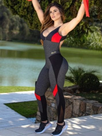 Oxyfit Jumpsuit Bent 15227 Gray-Black-Red -1-Piece