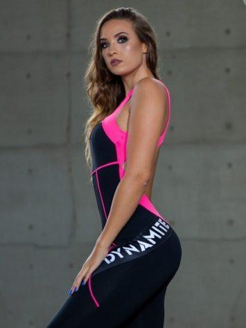DYNAMITE BRAZIL Jumpsuit Misty – Black/Neon Pink