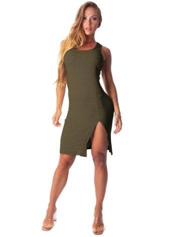 Let's Gym Fitness Vestido Canelado Lux and Power – Military Green