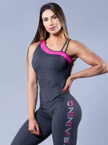 OXYFIT Activewear Jumpsuit Training 1 piece – Heather Grey/Pink