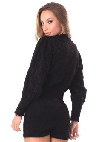 Let's Gym Fitness Casaco Angora Knit – Black