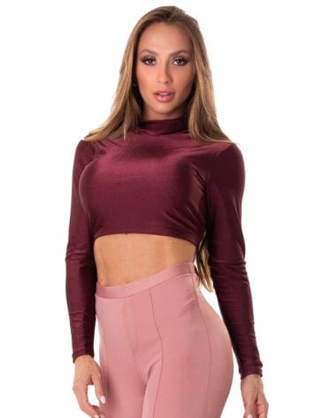 Let's Gym Fitness Cropped Backtie Glow Top – Burgandy