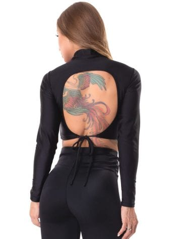 Let's Gym Fitness Cropped Backtie Glow – Black